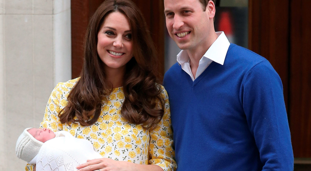 Catherine, Duchess of Cambridge and Prince William, Duke of Cambridge with their newborn daughter