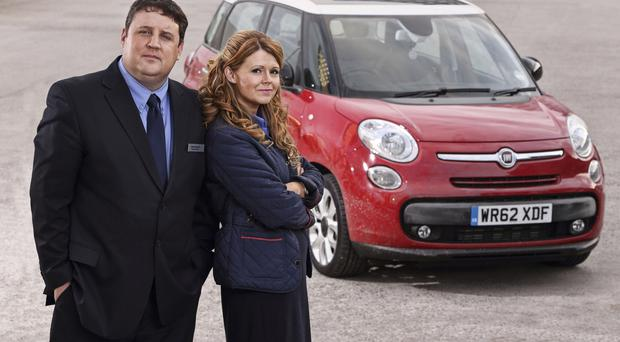 Getting personal: Peter Kay and Sian Gibson in new sitcom Car Share
