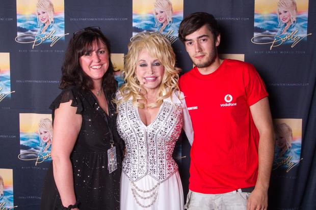 Cathy with her son Jamie and Dolly Parton