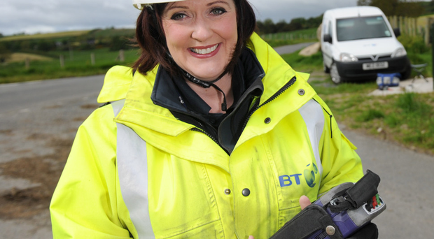 Get connected: Denise O'Neill enjoying her job as a fibre broadband engineer