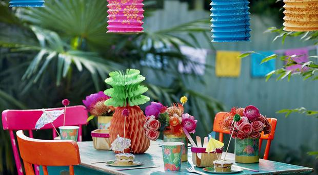 Tropical Fiesta range cups, honeycomb pineapple, pineapple bunting and lanterns, Talking Tables