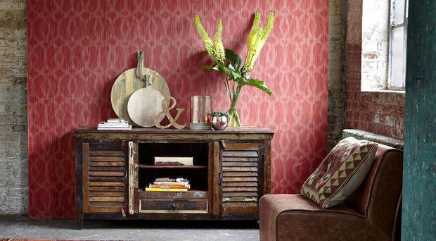 Mary Rose TV Plasma Unit, currently reduced to £499 from £669; Merle Set Of three Copper Votive Bowls, £49, Barker & Stonehouse (barkerandstonehouse.co.uk; similar pieces to the decos, chair, and rug can be found on the website)