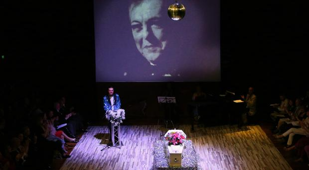 Centre stage: the funeral of Peter Quigley at the Lyric Theatre