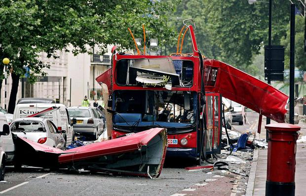 Blast aftermath: the number 30 double-decker bus in Tavistock Square, which was destroyed by a bomb following the terrorist attacks on London in 2005