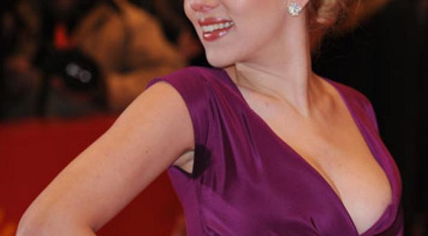 Feeling hot: Scarlett Johansson with her damp underarms