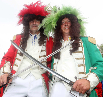 Old foes: John Adair (left) as King Billy with Brian Johnston as King James