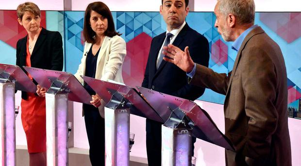 Party divided: Labour leadership hopefuls Yvette Cooper, Liz Kendall, Andy Burnham and Jeremy Corbyn