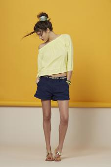 Blouse, £27, shorts, model's own, La Redoute