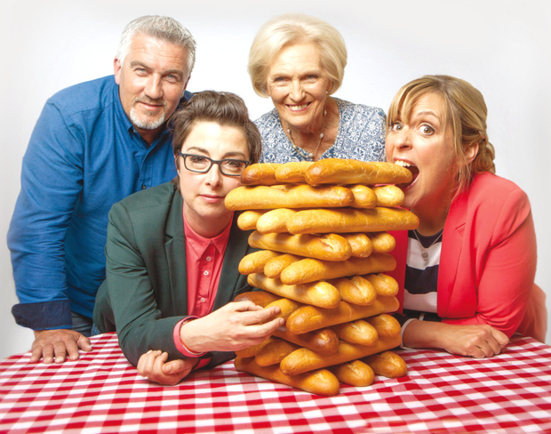 Paul with fellow Bake Off presenters Mary Berry and Mel and Sue