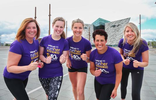 Race ready: Runher trainer Melissa Eccles is joined by runners (from left) Angela Dunlop, Rebecca Tester, Sally Anderson and Beth Allen at the Titanic Building in Belfast