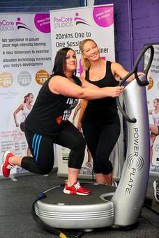Rebecca McClelland with trainer Josephine McAllister on the Power Plate