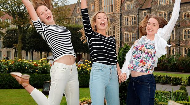 High fliers: the sight of girls celebrating their exams is a recent phenomenon