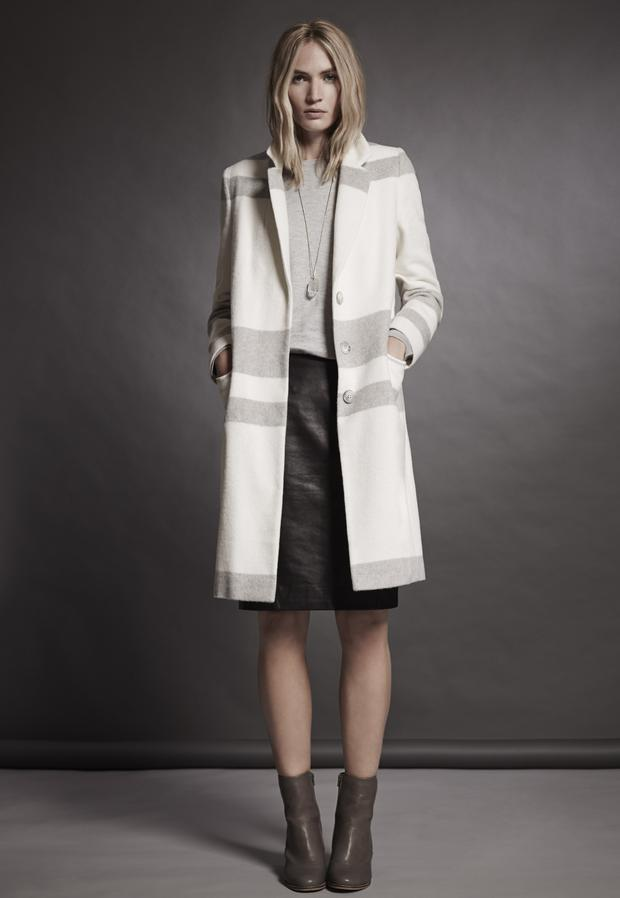 Coat, £199, jumper, £69, leather skirt, £159
