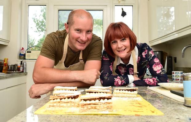 Favourite bites: Richard Burr and Claire Spreadbury making millefeuille in his home