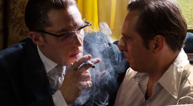 Smoke signals: Tom Hardy plays twin gangsters Ronnie and Reggie Kray