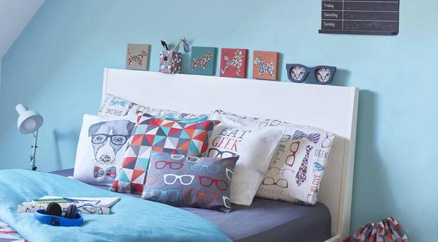 Geo wuilt cover set, double £12; cushions £34.99 each; I heart geeks, set of four mugs £5.99; Geek Chic laundry bag £4.99, all available from Dunelm