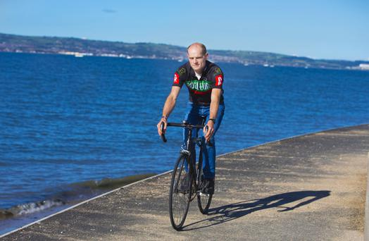 Gideon Burrows training for the 323-mile charity race