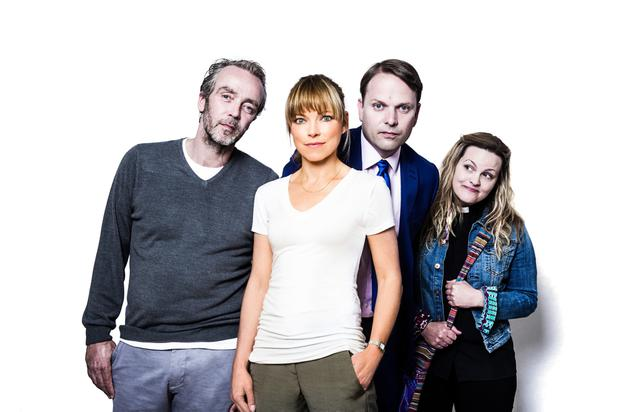 John Hannah as Adam, Sarah Alexander as Marley, Nicholas Burns as Michael and Jo Joyner as the vicar in Marley's Ghosts