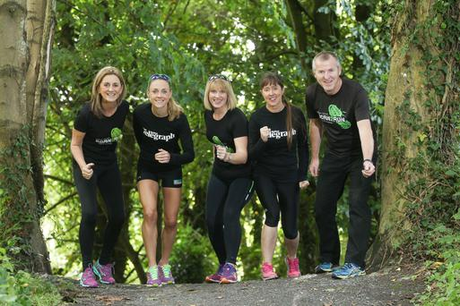 On your marks: helping Carol McMenamin (left) from Born 2 Run launch the Minnoburn 10k race is Irish Olympic runner Kerry O'Flaherty, Jane Rowe from Born 2 Run, Belfast Telegraph's Karen McGarvey and Gerard Rowe from Born 2 Run