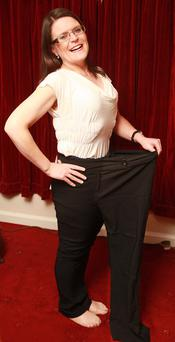 Slim fit: Roisin Curran fitting into one of her old trouser legs