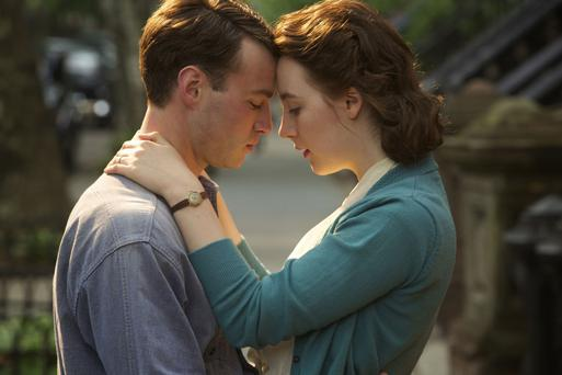 Love divided: co-stars Saoirse Ronan as Eilis with Emory Cohen as her Brookyln love interest