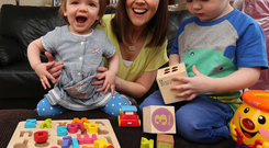 Fun time: Orla McGoldrick enjoys precious time out from the stresses of work with children Pia and Leo