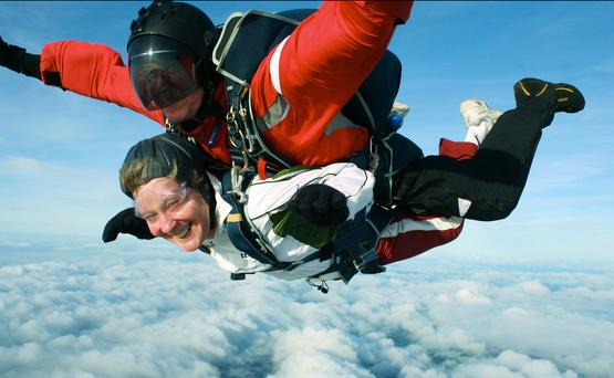Jump to it: Liz Thompson skydiving from 13,000ft