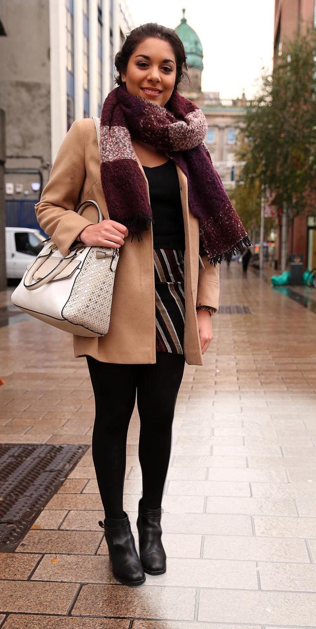 Sarah Crawford (18), student, Lisburn Wore what? Top, £12, skirt, £36, jacket, £45, all Topshop; boots, £70, Office; bag, £30, New Look; scarf, £5, Primark. Why? I would describe my style as very girly. I love pink and purple. Who? I love the Kardashians for their style. It's so glamorous and sophisticated. Monthly spend £100