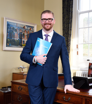 Frontline role: Simon Hamilton in his Stormont office
