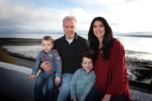 Kathy with her husband Richard Curran and their sons Oirghiall and Dallan