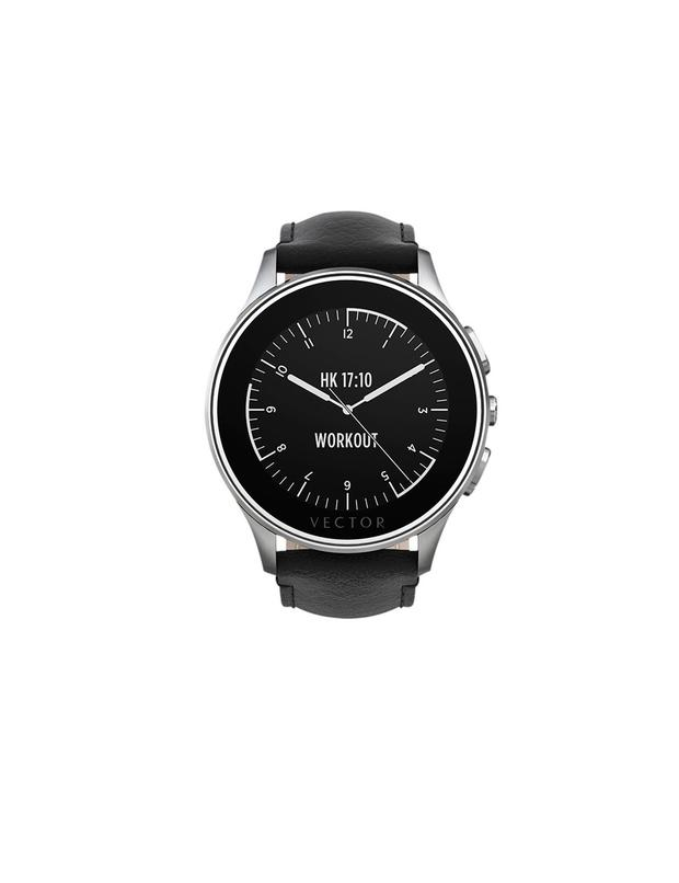 ve Vector Luna Brushed Stainless Steel Case and Padded Leather Strap Smartwatch, Black, £249, from www.johnlewis.com