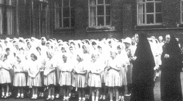 With the nuns at Lark Hill (front row, second from right)