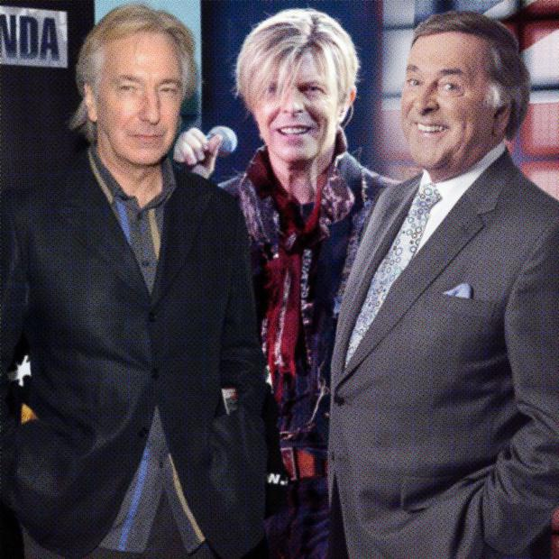 Sad loss: the deaths of from left, Alan Rickman, David Bowie and Sir Terry Wogan have helped raise wareness of cancer