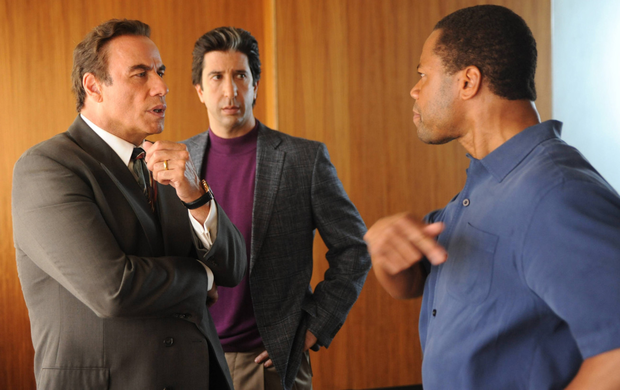 Courtroom drama: from left, John Travolta, David Schwimmer, Cuba Gooding Jr starring in American Crime Story
