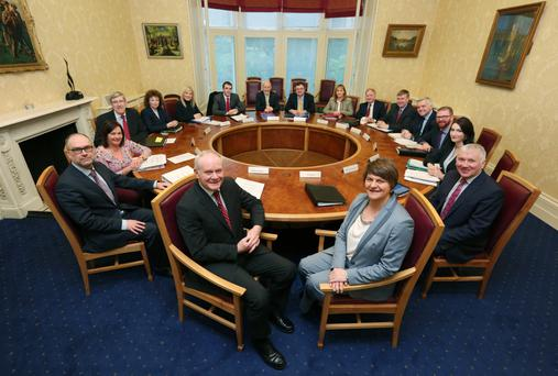 First Minister ArleneFoster and Deputy First Minister Martin McGuinness chairing a meeting of the Executive at Stormont