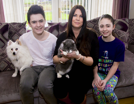 Feline fine: Debbie McCall and children Max and Eva with dog Teddy and cat Summer
