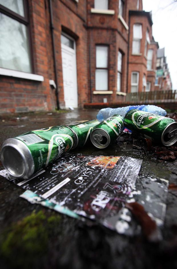 Hard night: outside student homes in the Holylands area of south Belfast