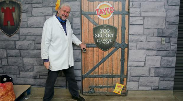 Journalist Ivan Little attempts to get a look in the top secret flavour room
