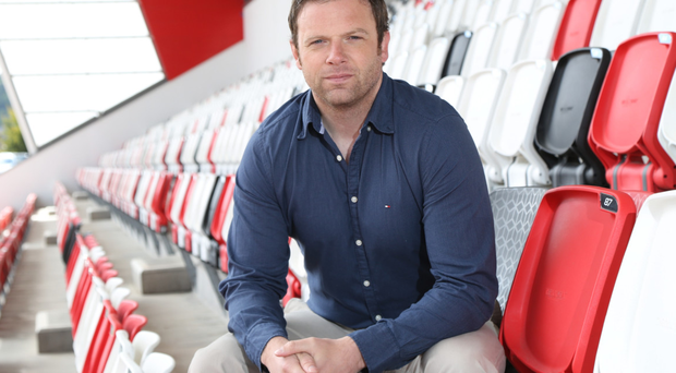 Great view: Bryn Cunningham can clearly see all the players on the pitch at Kingspan Stadium from his seat in the stand