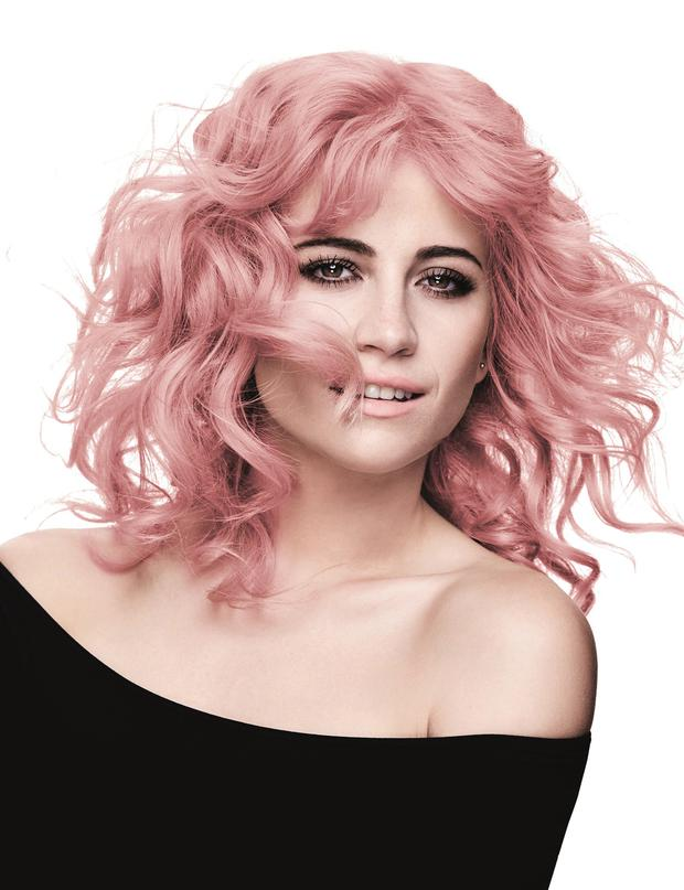 Going pink: Pixie Lott 's look can be achieved with Paint Hair Chalks