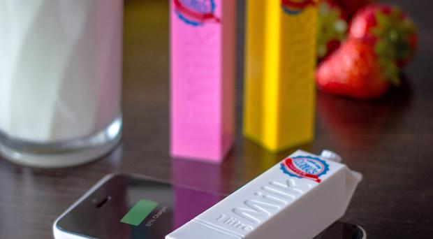 Long Life Milk Portable Chargers, £8.99, from www.firebox.com