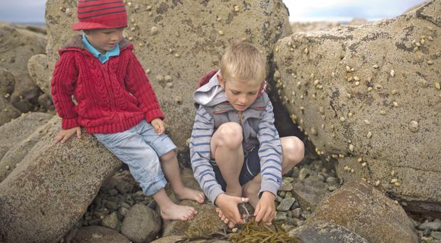 Great outdoors: kids at play on a rocky beach
