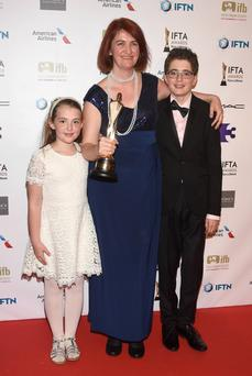 Emma Donoghue with children Una and Finn