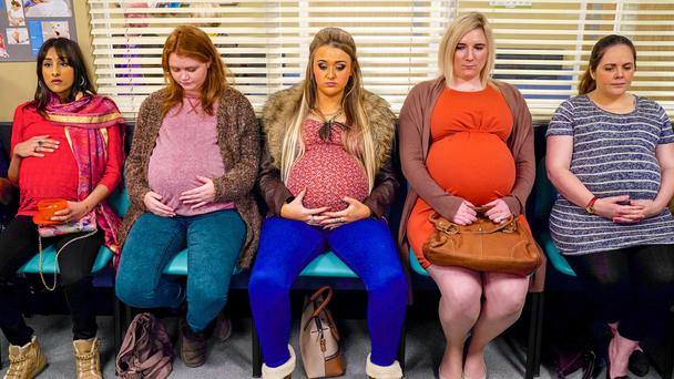 Baby blues: from left, Jasmin (Taj Atwal), Rosie (Hannah Midgley) and Shelly (Gemma Dobson) with two other mums-to-be in In The Club