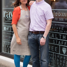 Greg Hendron and Caroline at their cafe, Raw Food Rebellion