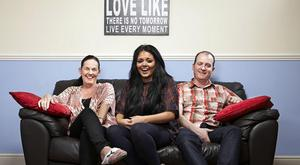 Outside the box: Scarlett Moffatt with her mum Betty and dad Mark on Gogglebox