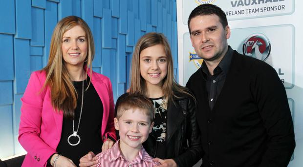David Healy with his wife Emma and children Jude and Taylor