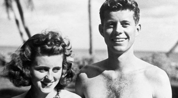 CLOSE BOND: Kathleen with her brother John F. Kennedy at Palm Beach, Florida