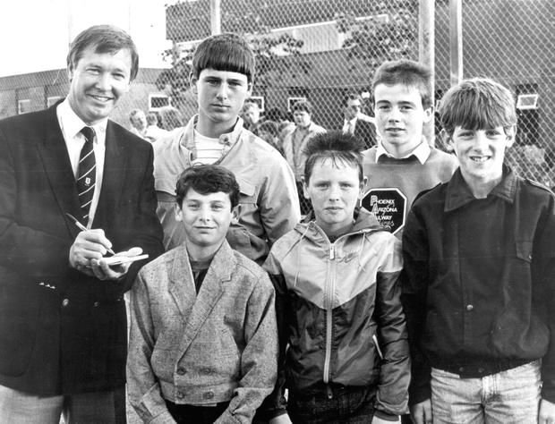 Raw talent: Adrian Doherty (second from right) with Sir Alex Ferguson and (back) Jason Mills, (front from left) Michael Dillon, Cathal Canning and Rodney Byrne