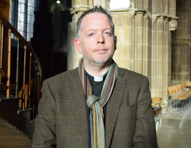Dean David Monteith wearing one of his trademark scarves